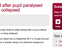 School fined after swing collapsed injuring pupil